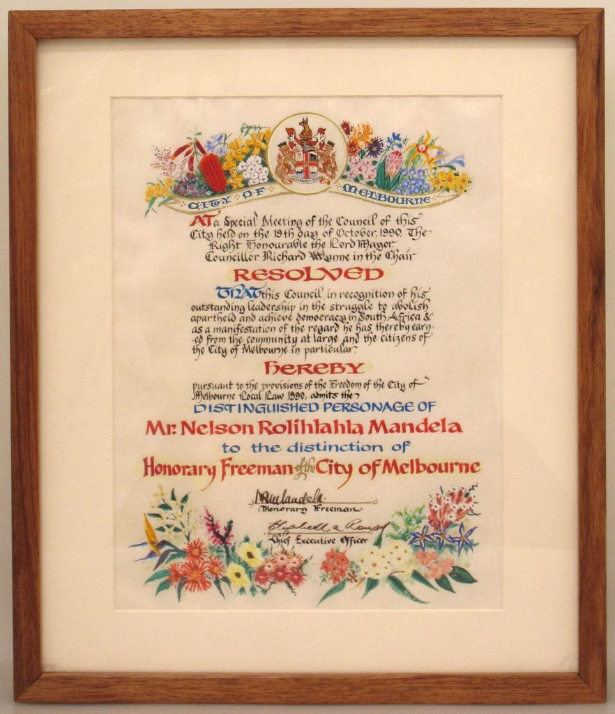 Nelson Mandela, Honorary Freeman certificate