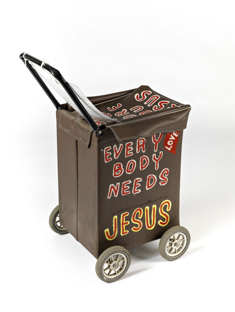 Jesus trolley 2 (brown) with additional sign