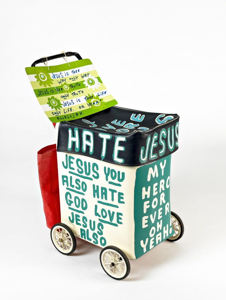 Jesus trolley 3 (green/white) with additional sign