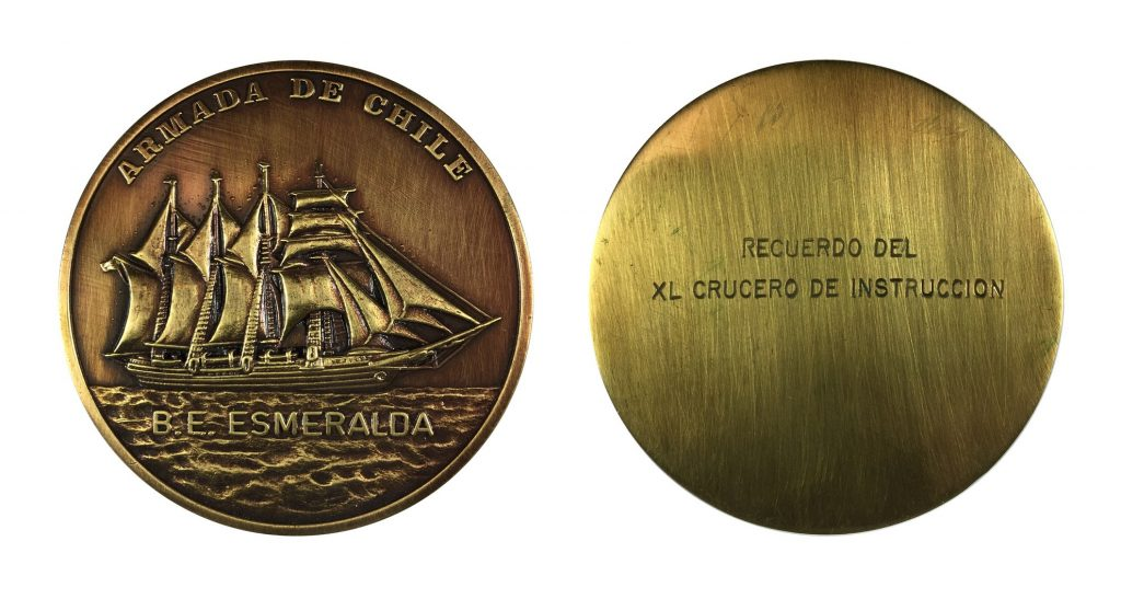 Medal commemorating the visit of Chiliean ship B.E. Esmeralda