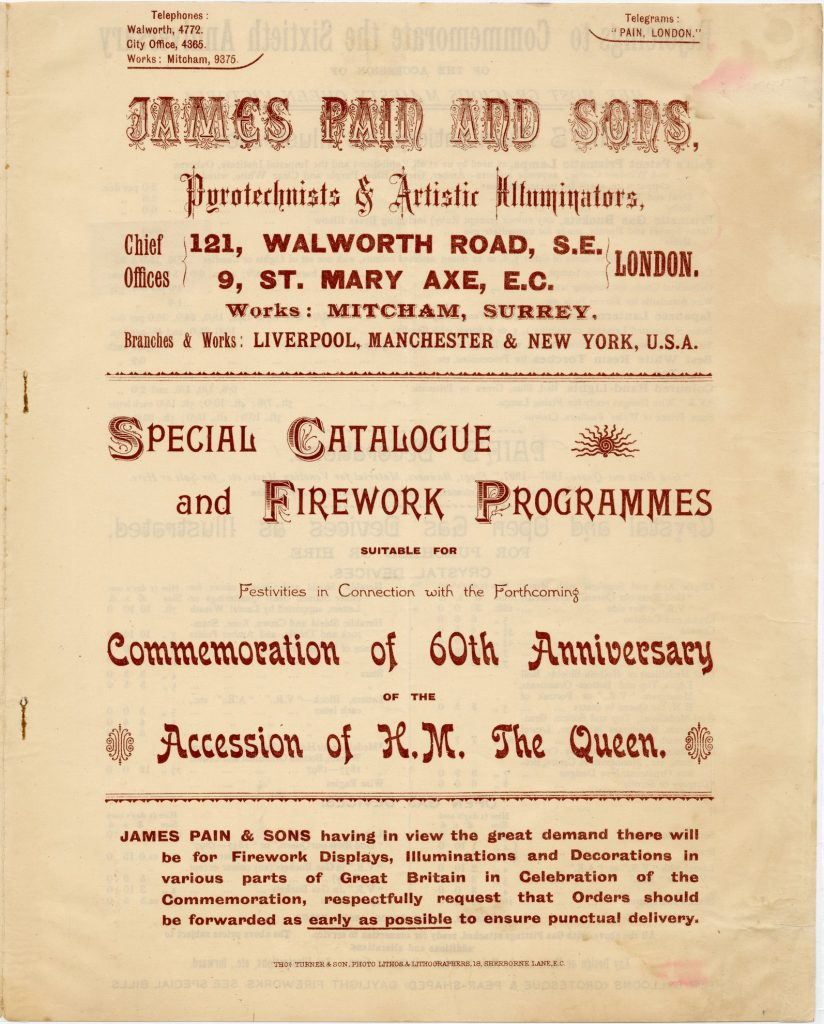 Catalogue and firework program for festivities for Queen Victoria's 60th anniversary of accession