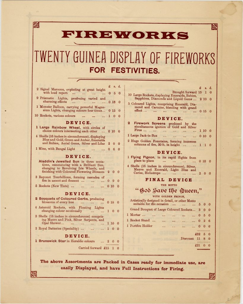 Catalogue and firework program for festivities for Queen Victoria's 60th anniversary of accession image 1735437-7