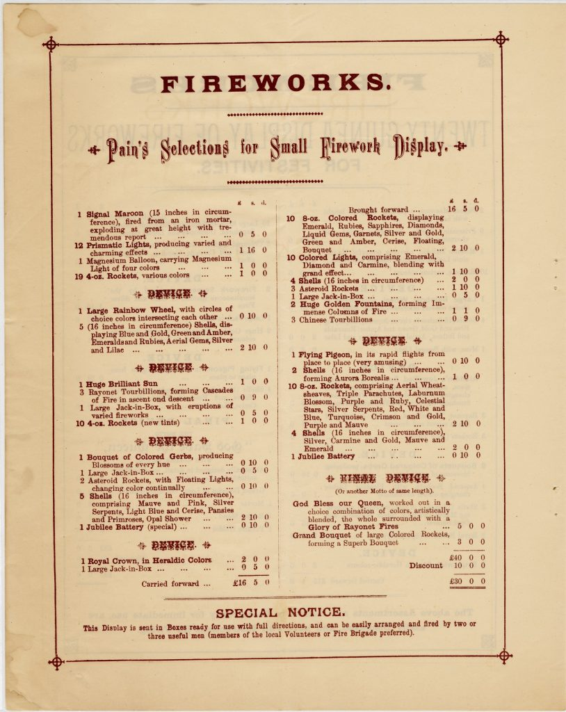 Catalogue and firework program for festivities for Queen Victoria's 60th anniversary of accession image 1735437-8