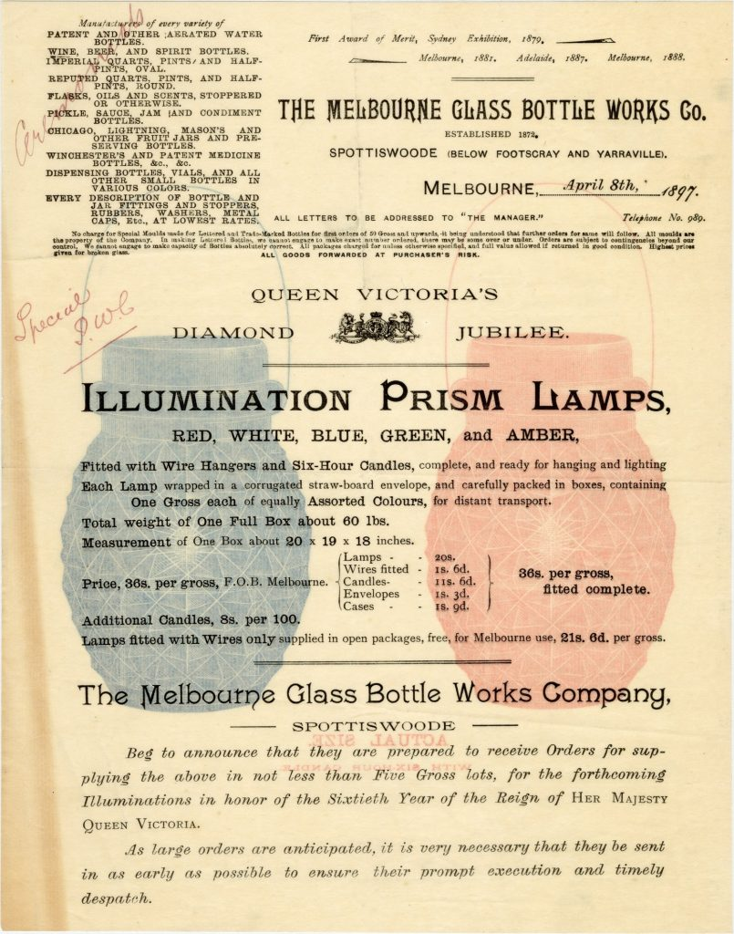 Advertisement for illumination prism lamps