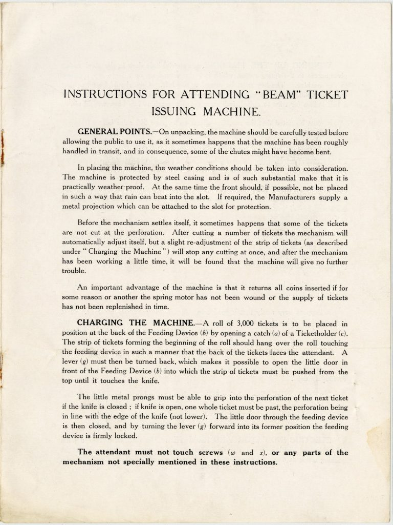 Instruction booklet for the BEAM ticket issuing machine image 1735443-4