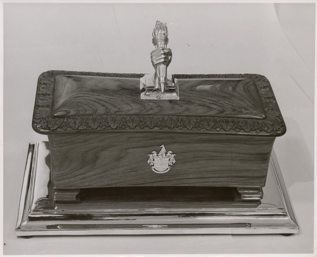 Image of the casket presented to the Duke of Edinburgh, the first recipient of the Freedom of the City