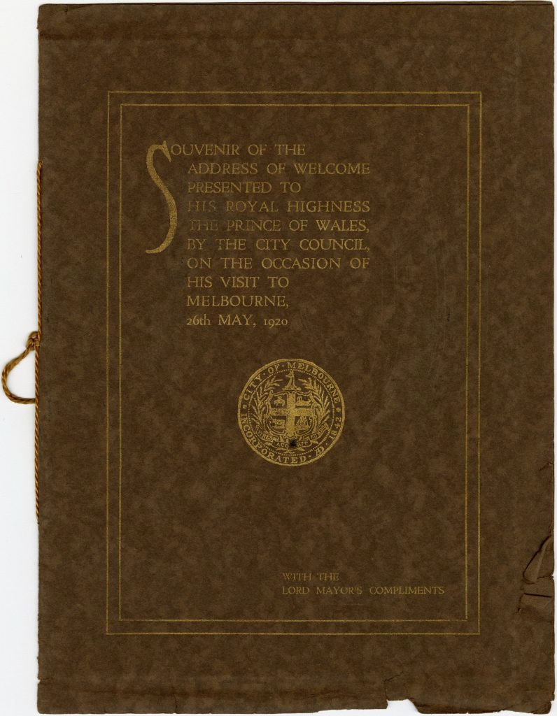 Souvenir booklet from the Address of Welcome presented to the Prince of Wales in 1920