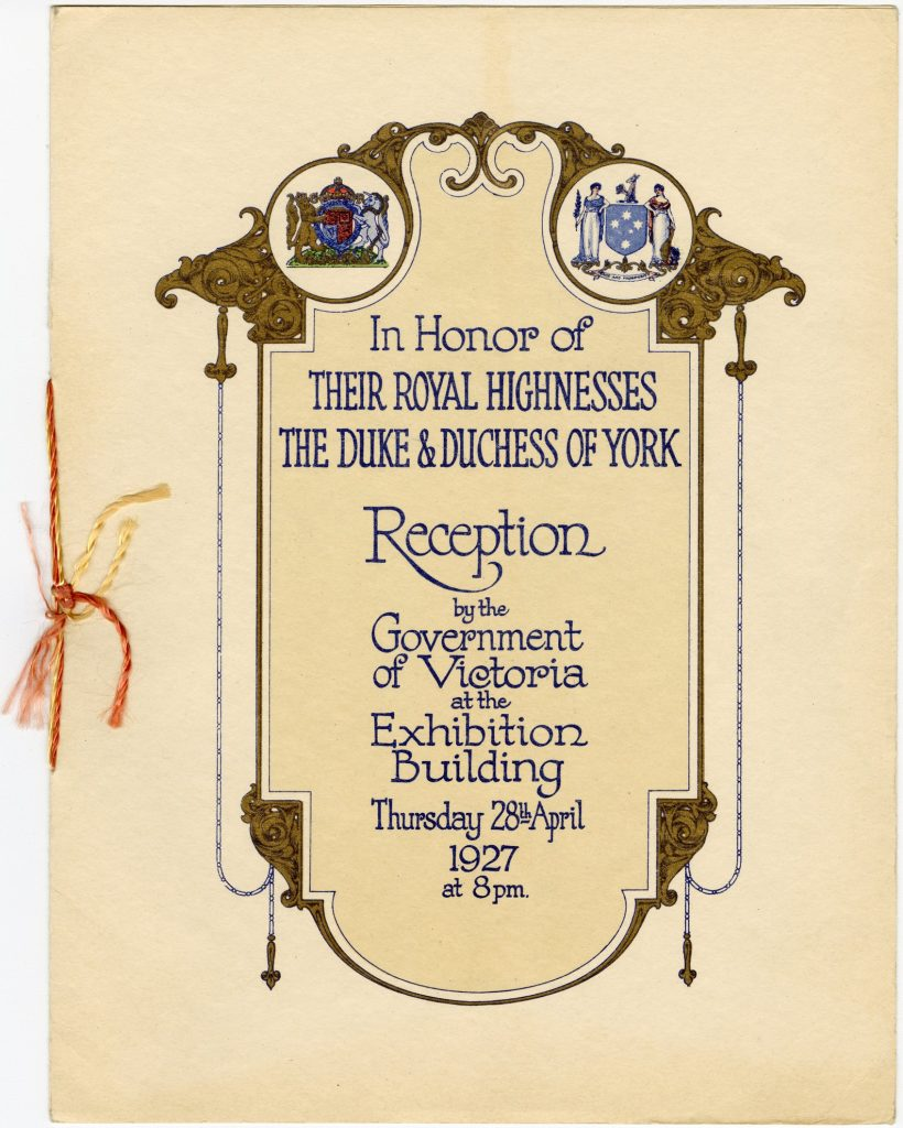 Programme for the reception of the Duke and Duchess of York by the Government of Victoria
