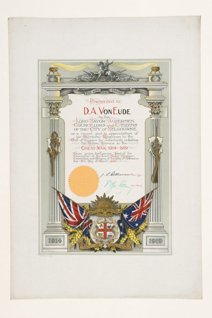 Certificate, presented to D.A. Von Eude