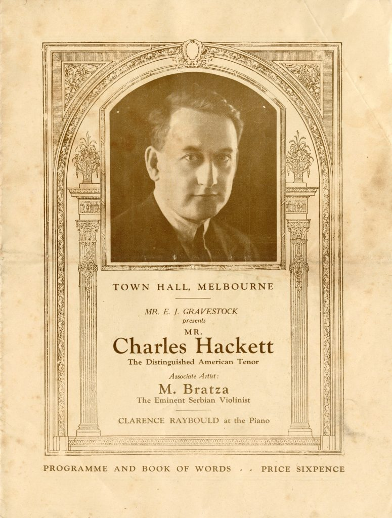 Programme, Charles Hacket performance