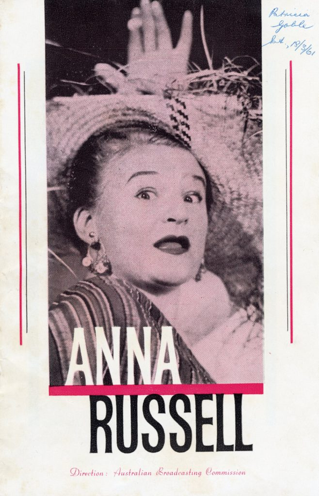Programme, Anna Russell performance