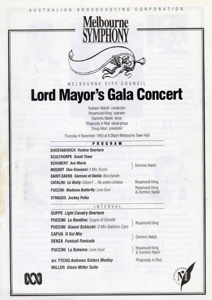 Programme, Lord Mayor's Gala concert