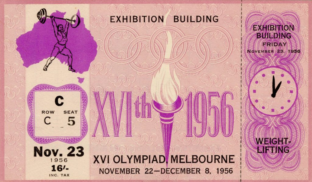 Ticket, 1956 Olympics, Weightlifting