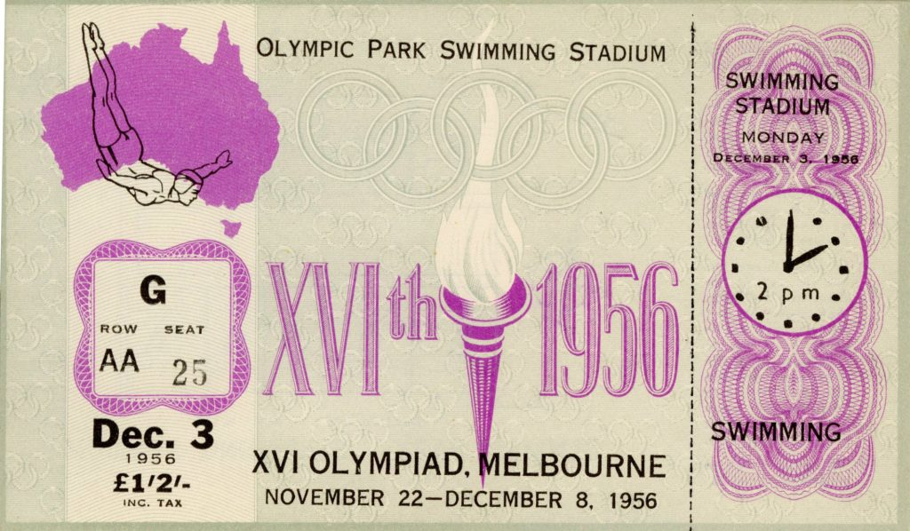Ticket, 1956 Olympics, Swimming